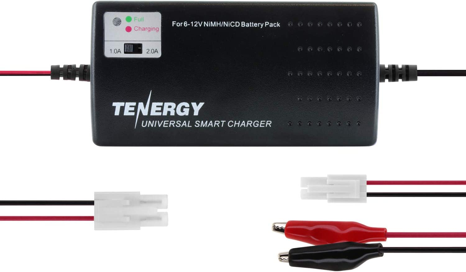 Tenergy Universal RC Battery Charger for NiMH/NiCd 6V-12V Battery Packs, Fast Charger for RC Car, Airsoft Batteries, Compatible with Standard Size Tamiya/Mini Tamiya/Alligator Clips Connectors 01025: Toys & Games