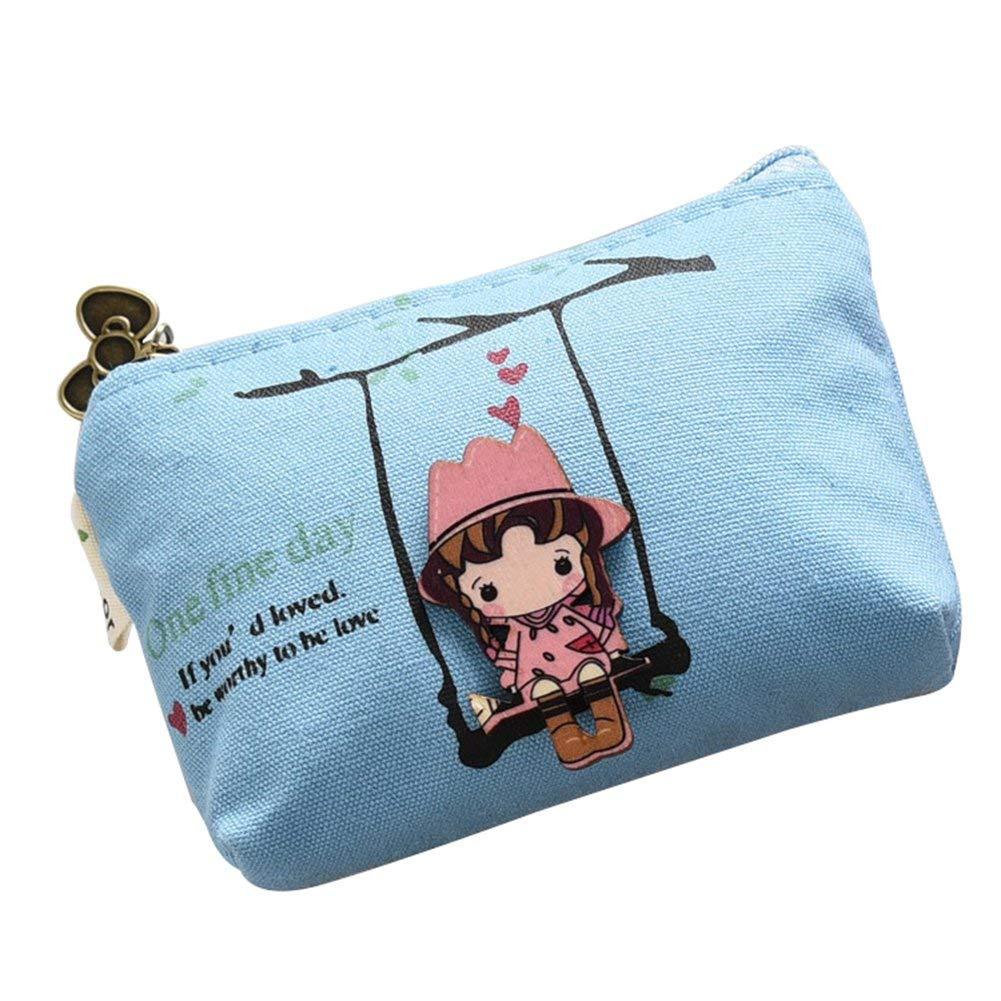 Cute Cartoon Small Canvas Purse Zip Wallet Coin Case Bag Key Holder Wallet