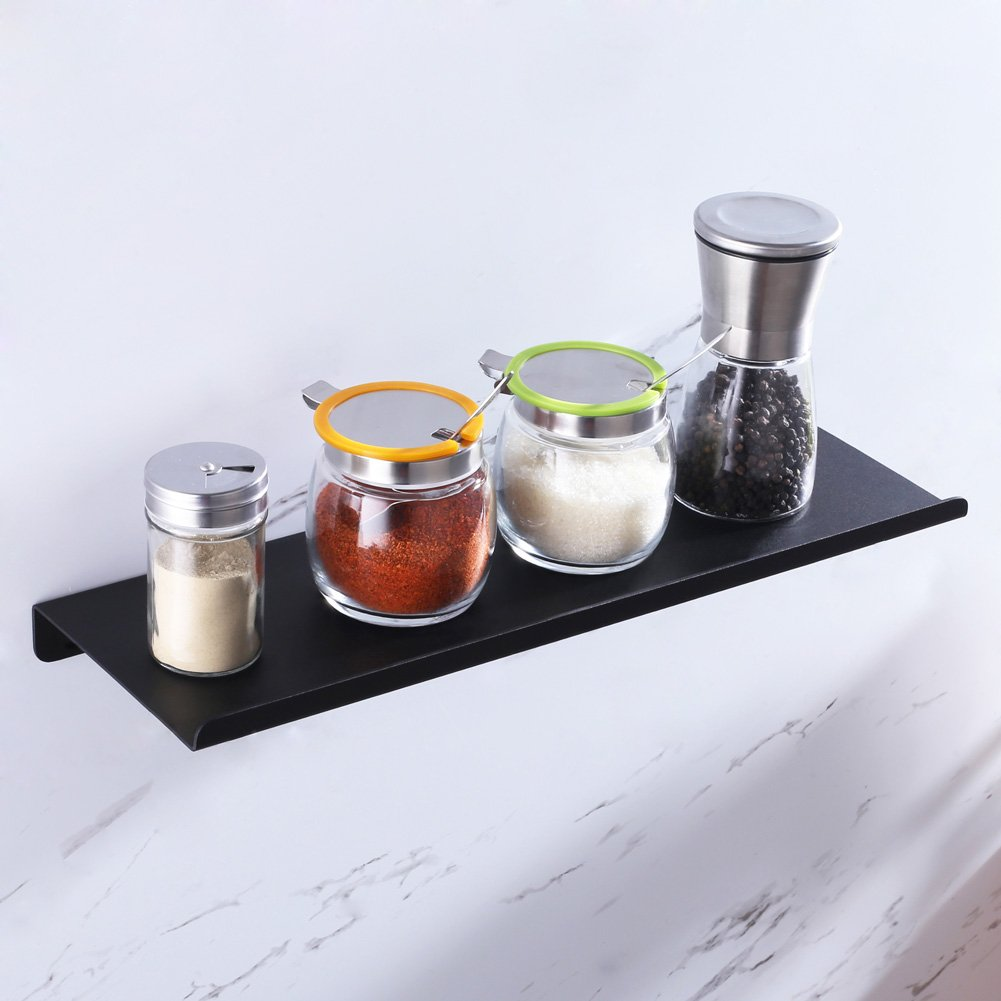 Floating Shelf, L 16'' X D 5-3/8'', APLusee Modern Minimalist Reversible Bathroom Shower Shelf, Kitchen Ledge Storage Spice Rack, Matte Black