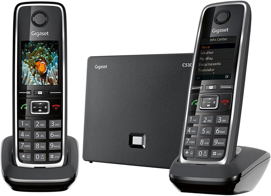 Gigaset C530 IP Trio - Teléfono inalámbrico (3 terminales, DECT, híbrido), Color Negro [Versión Importada]: Amazon.es: Electrónica