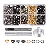 Pangda 200 Set Grommets with 3 Pieces Grommet Tools for Canvas Clothes Leather, 1/ 4 Inch