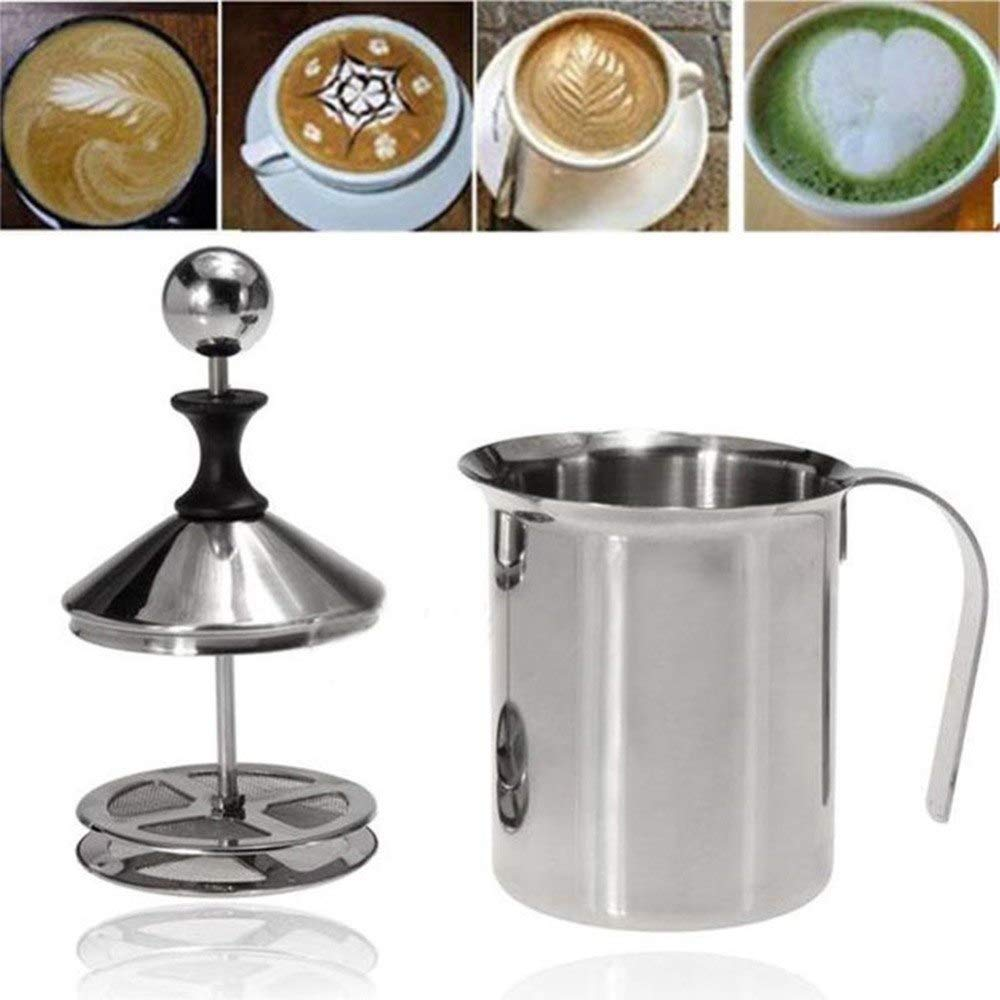 Other Dessert Tools - Durable 400 800ml Stainless Steel Milk Frother Foamer Coffee Cappuccino Manual 290858 - Cup Foam Milk Cappuccino Coffee Pitcher 1 Cappuccino Foam Milk Cappuccino Milk Skele by ATP New Kitchen (Image #3)