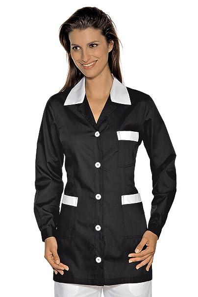 Isacco-túnica médica Marbella, Color Negro y Blanco Blanco Small