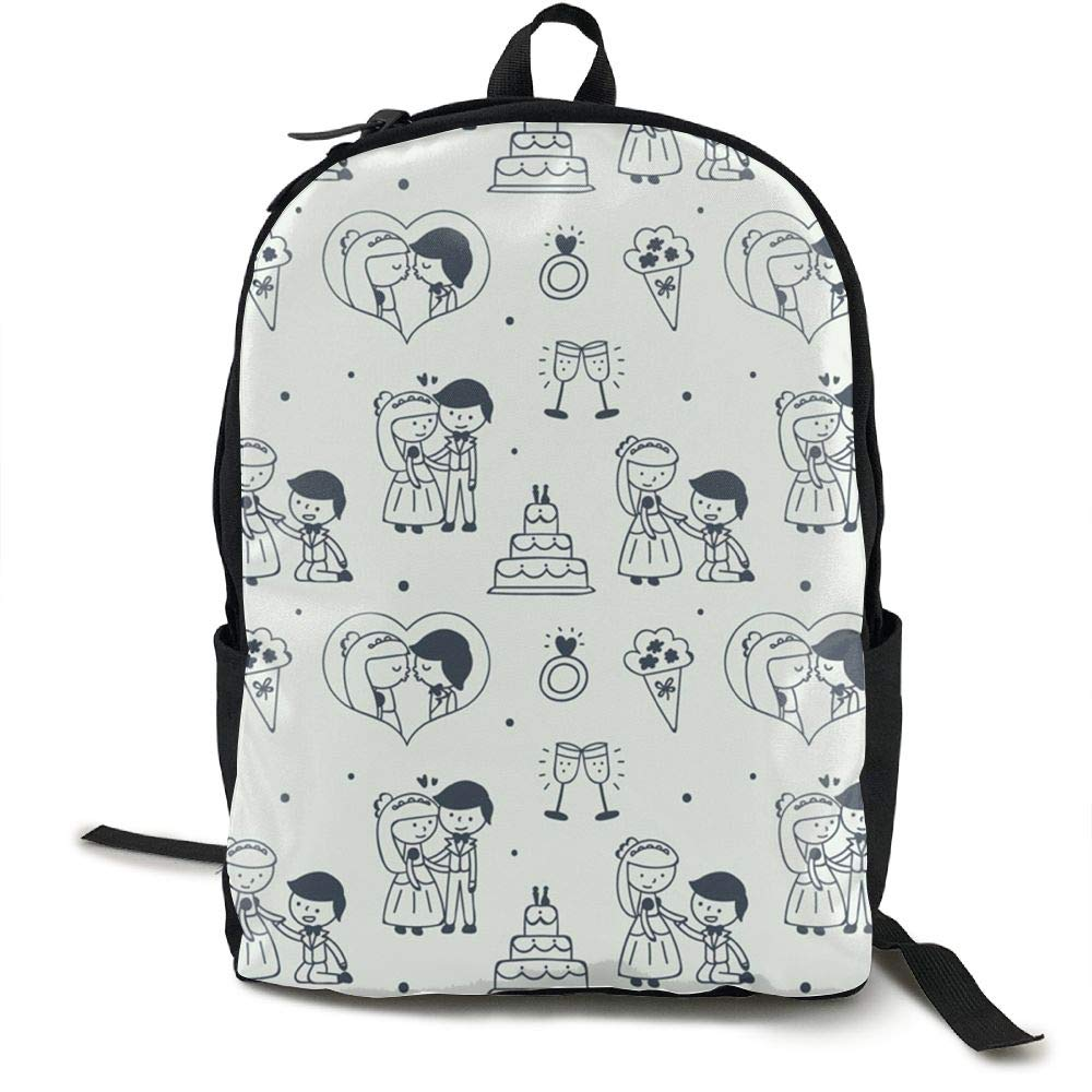 Hand-Painted Wedding Newlyweds School Bookbags Bags Rucksack Girls Travel Backpack Canvas Backpack Shoulder Bookbags