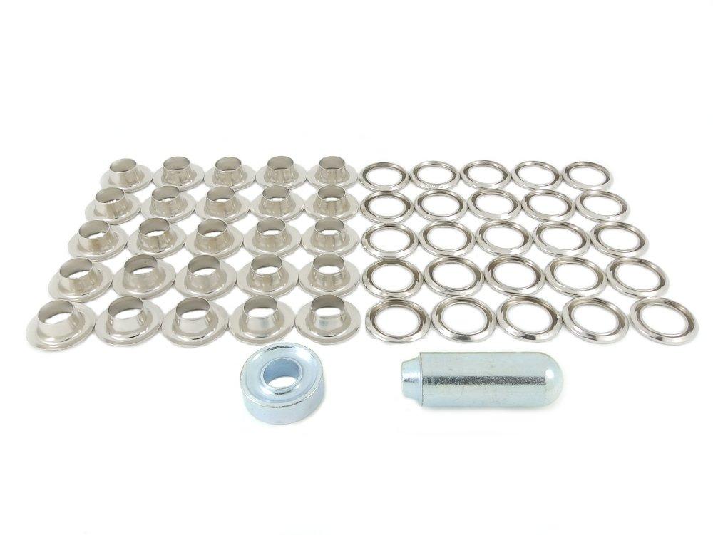 BP 24m20ottone nichelato 9,5mm Vela Occhiello e rondella Kit di riparazione Ossian Fasteners
