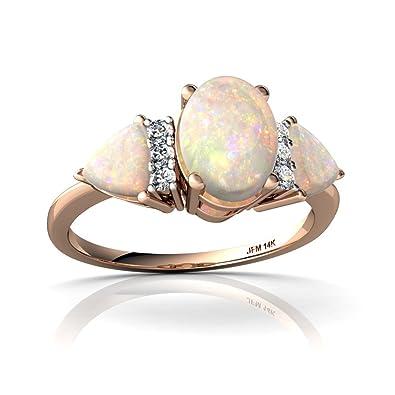 Amazon.com: 14 kt oro Opal y diamantes 7 x 5 mm Ovalada ...