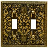 Amerelle 65TTAB Filigree 2 Toggle Wallplate, Antique Brass by Amerelle