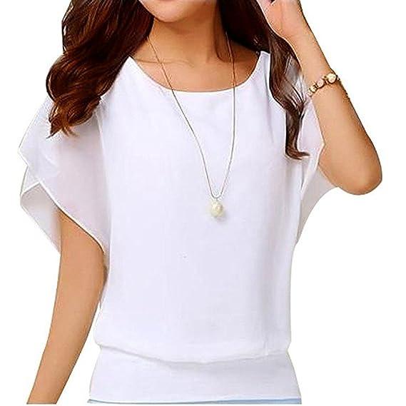 Mujeres Casual Blusa de Gasa con Cuello O Blusas Camisas Tallas Grandes 🐳EUZeo🎄Las