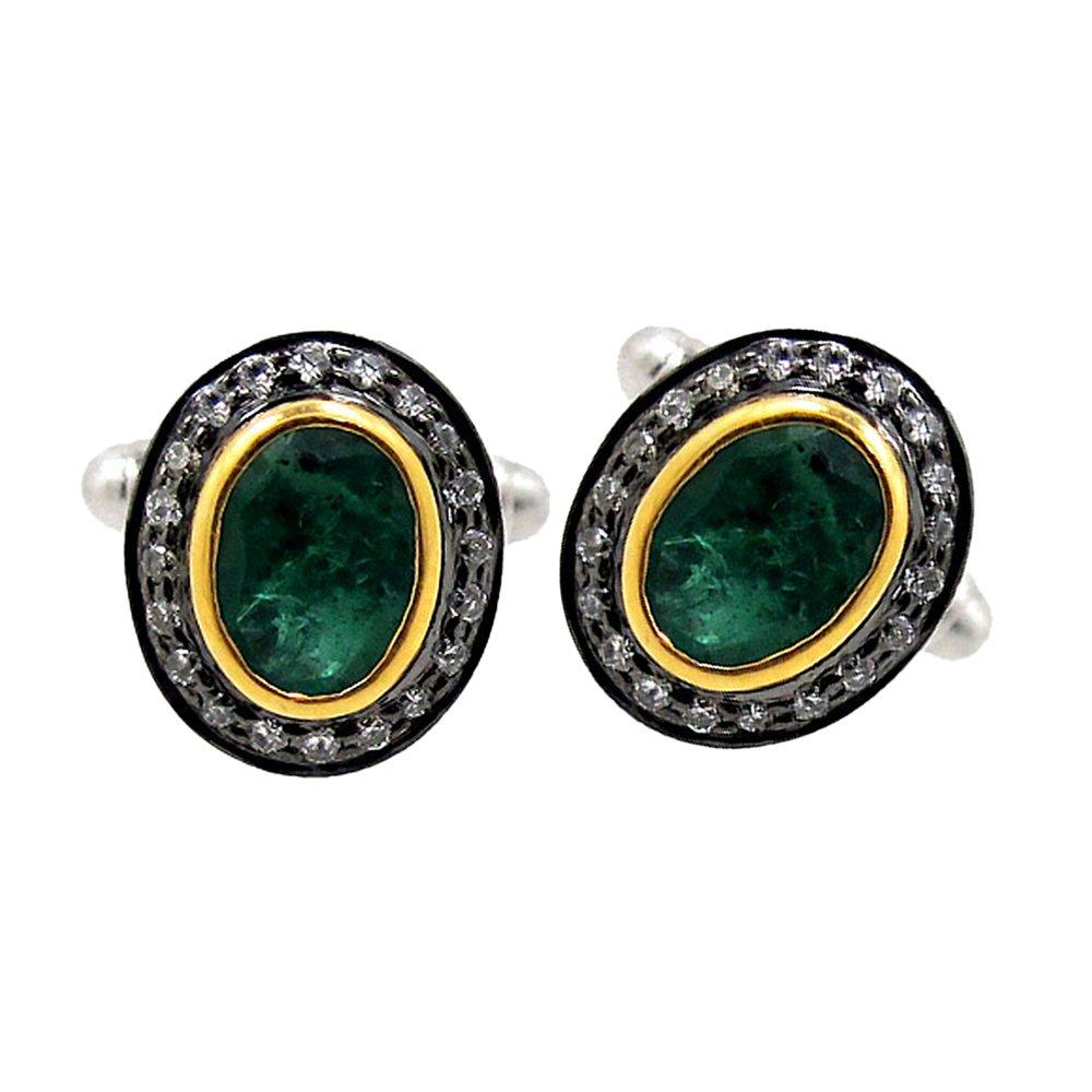 Pave Diamond Emerald Gemstone Cufflinks Men's Wedding Party Wear Jewelry Supplier
