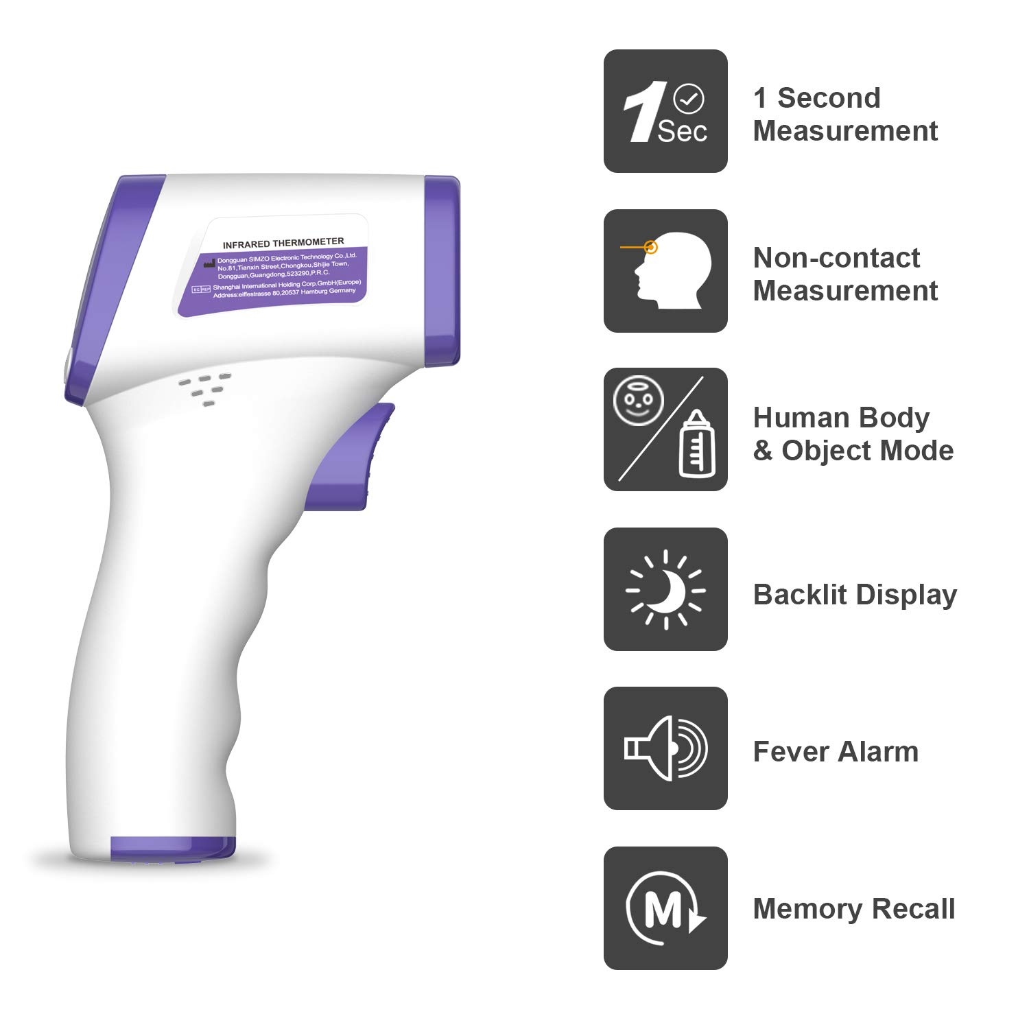 Digital Non-Contact Forehead Infrared Thermometer for Baby and Adults,Instant Reading with Digital LCD Display-NO Battery Included Vibeey Thermometer for Adults