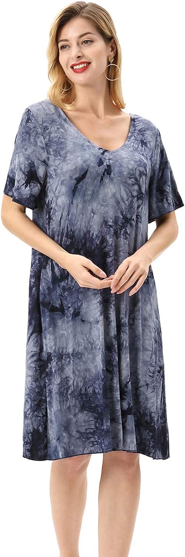 Zexxxy Damen Nachthemd 3//4 Arm Kurzarm V-Ausschnitt Lace Nachtkleid Schlafkleid