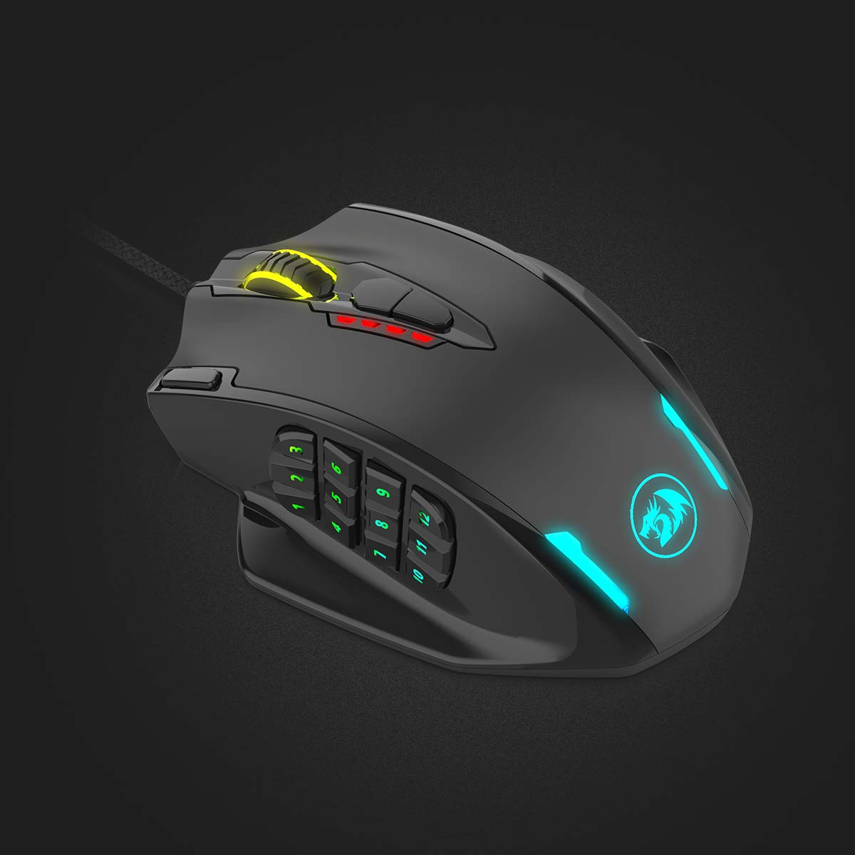 Redragon Impact RGB LED MMO Mouse with Side Buttons Laser Wired Gaming Mouse with 12,400DPI, High Precision, 19 Programmable Mouse Buttons by Redragon (Image #1)