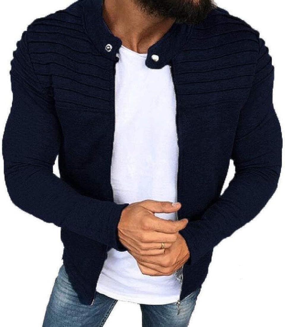 CRYYU Men Long Sleeve Fashion Jacket Pleated Plain Slim Fit Zip-Up Coat Outwear