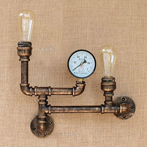 CGJDZMD Wall Sconce Retro Vintage Industrial Steampunk Metal Retro/Vintage Copper Wall Lamp with Edison E27 2-Lights for Kitchen,Dining room,Bedroom Decorated Lighting (Not Include Bulb)