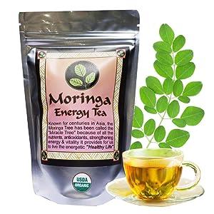 MORINGA ENERGY TEA - Loose leaf 3 oz. USDA Organic, hand harvested at the optimal growth stage & freshly packaged moringa leaves, with larger cut leaf tea size