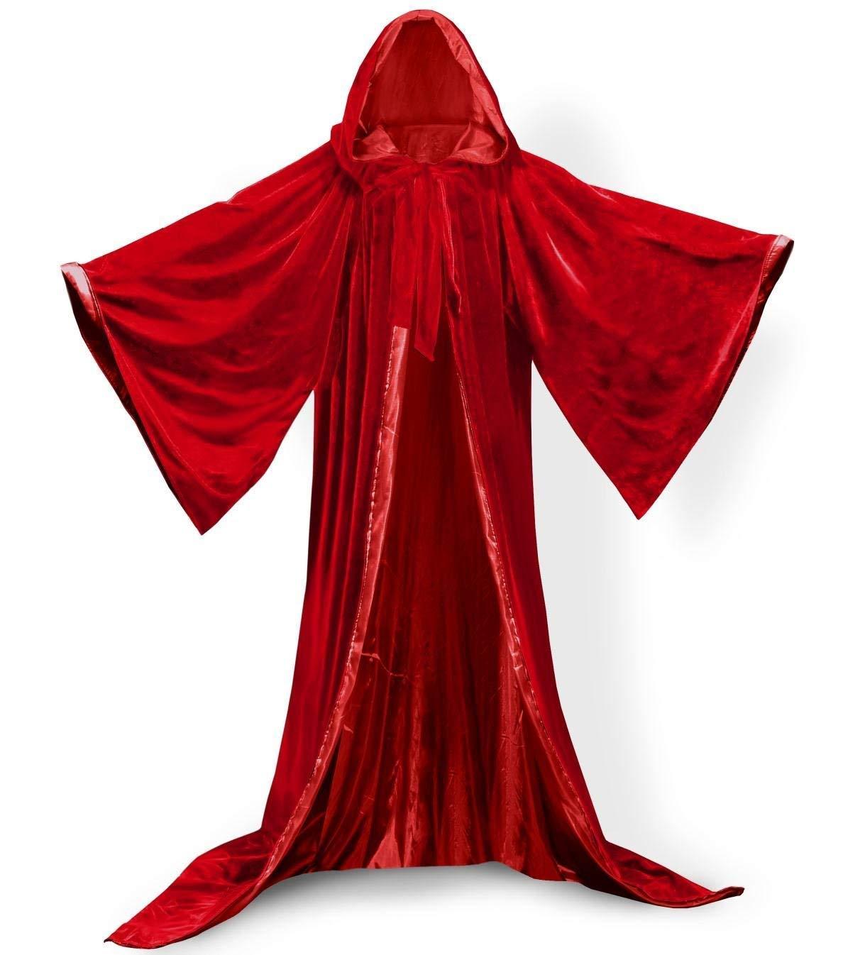 ShineGown Rot Mittelalterliche Zauberer Robe Hauben Halloween Mantel mit Langen Armeln SAMT Maskerade Fuer Weihnachtsfeier Kostum Ball Gothic Voller Lange Kap Cosplay Fancy Coat Viele Farben B07HHRHTPH Mäntel, Umhänge & Flügel für Erwachsene Hohe Sicherhe