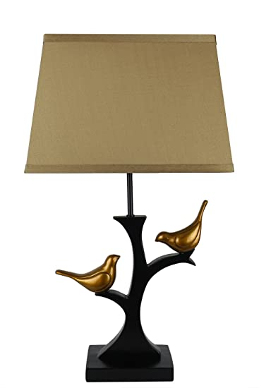 Urbanest Resting Bird Table Lamp With Shade, Black With Gold Birds And Gold  Silk Shade
