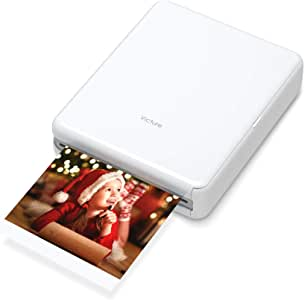 """Victure 3x3"""" Portable Photo Printer, Bluetooth Connection, Rechargeable, Including 10 Pieces of Photo Paper, Android/iOS/Tablet Devices Compatible, no Ink, Wireless,4 Pass Technology"""