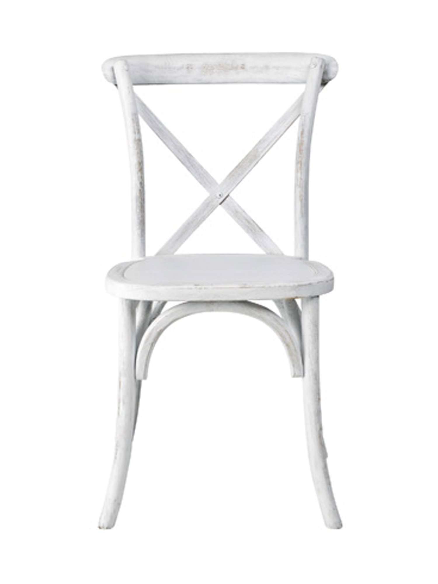 Commercial Seating Products W-701-X02-Wwash Sonoma Cross Back X02 Rustic Wood Stakable Dining Chair, White Wash