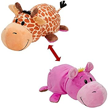 Chocozone 40cm Flip 'N' Play Friends Plush Toy & Pillow 2 in 1 ( Giraffe / Hippo ) Instantly Transforms for Hours of Playtime and Naptime Fun