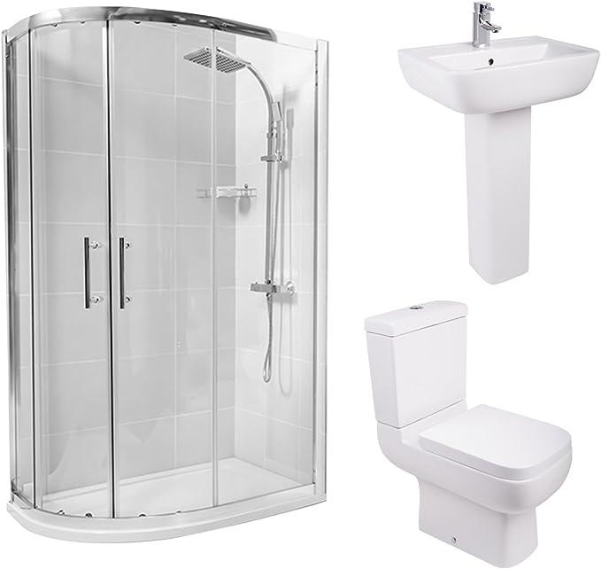 Fácil de limpiar, izquierda cuadrante mampara de baño juego de baño WC inodoro + lavabo: Amazon.es: Hogar