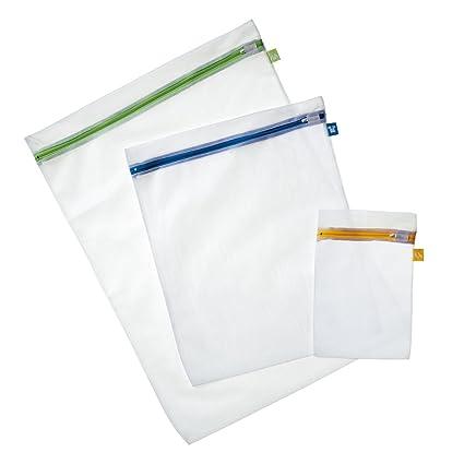 Rayen 6087 - Set de 3 Bolsas Malla para Proteger Ropa en la Lavadora, Material de Tela, Color Blanco