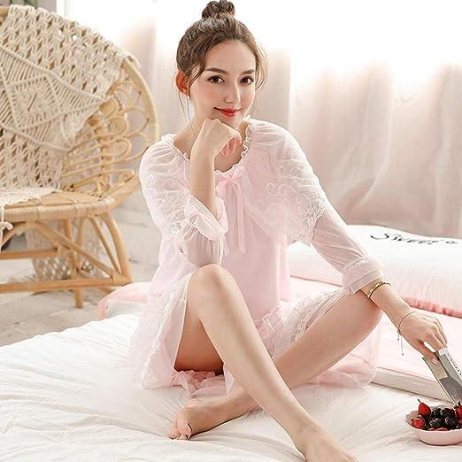 Pijama de Mujer camisón de Encaje de algodón de Manga Larga de ...