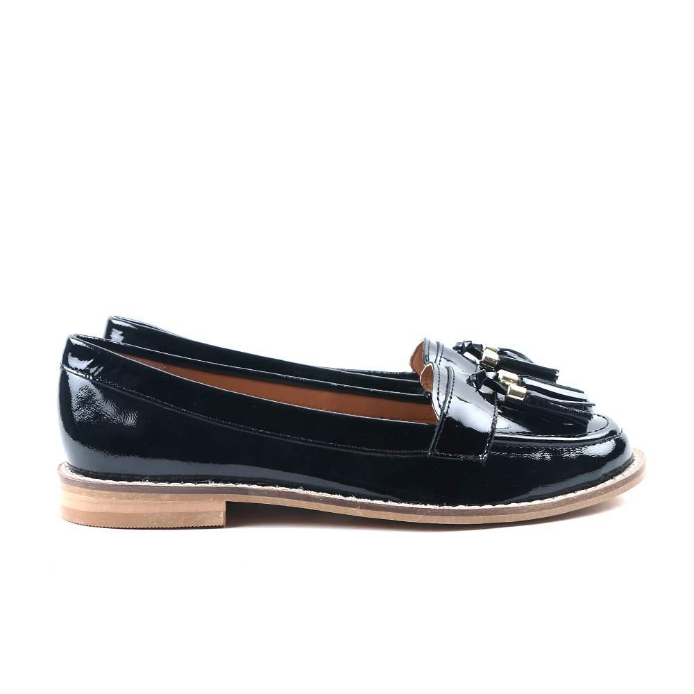 Carlton London Mocasines De Charol De Chanel - Negro UK 6: Amazon.es: Zapatos y complementos