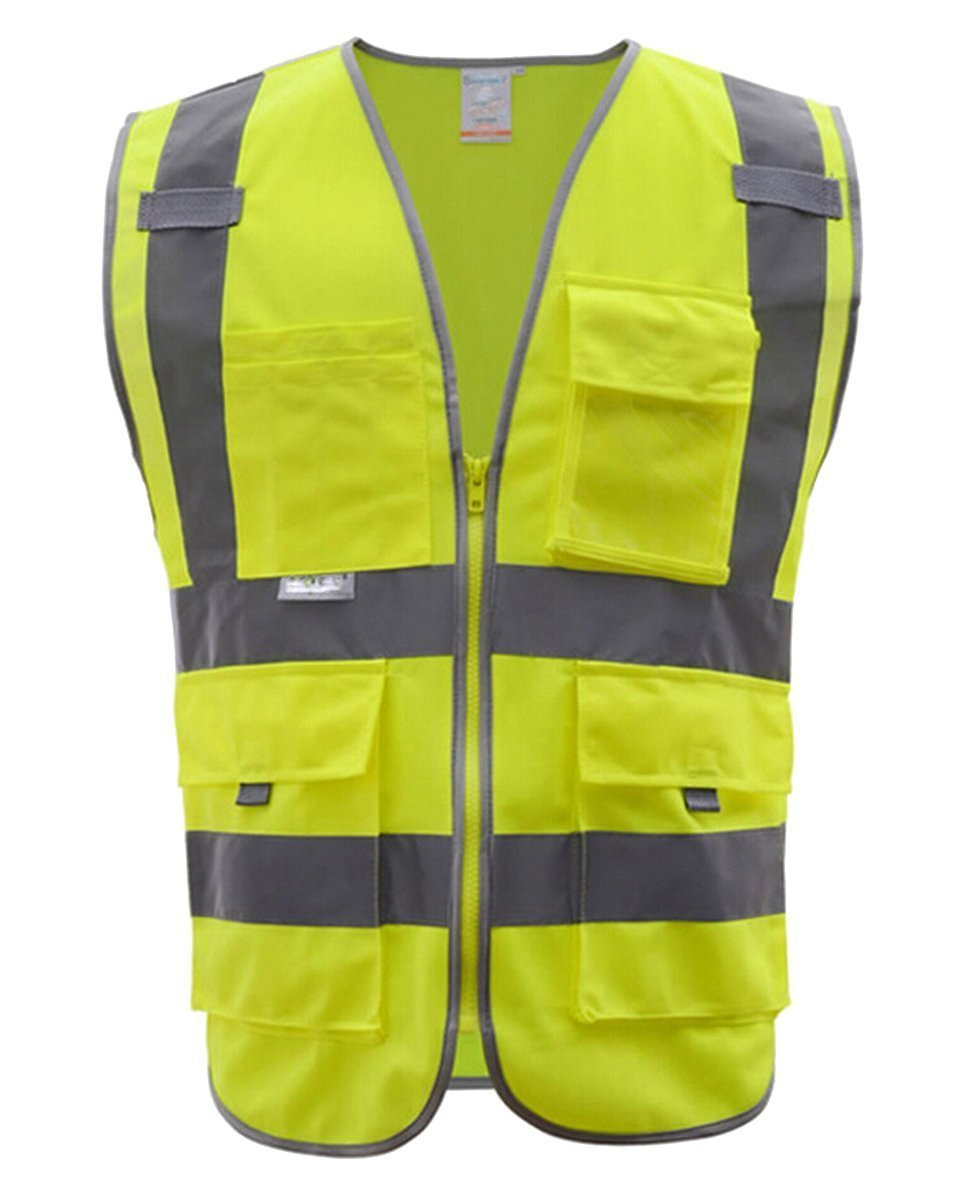 Fashionclubs 4 Pocket Class 2 Reflective Safety Vest with Reflective Strips Zipper Front And 2 Bonus Reflective Bands Included Meets ANSI/ISEA Standards (M)