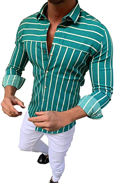Camisa a rayas de manga larga para hombre ♧ blusa de alta ...