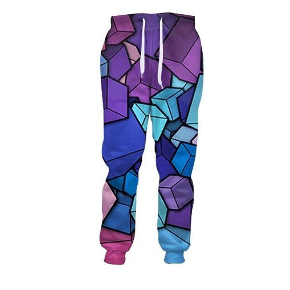 CNSKKDOW 3D Full Print Loose Sweatpants Straight Full Length Trousers