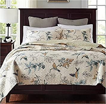 Norson American Country Style Bedding Patchwork Quilt Bedspreads Sets Retro  Bedding Sets Queen Size 3pcs (Beige)