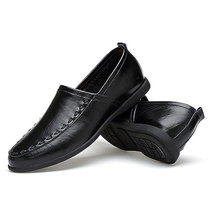 Xiazhi-shoes, Mocasines de Cuero Genuino de los Hombres Slip-on Gamuza Plantilla