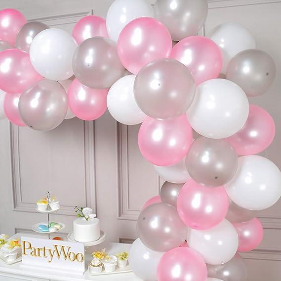 PartyWoo Globos Rosas y Blancos, 100 Piezas de 12 Pulgadas Globos ...