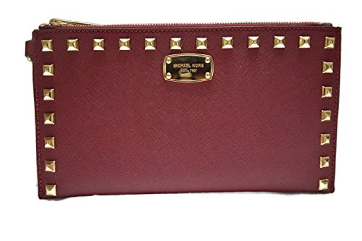 MICHAEL MICHAEL KORS SINDRINE STUDDED SAFIANO LEATHER ZIP LARGE CLUTCH, WRISTLET PLUM