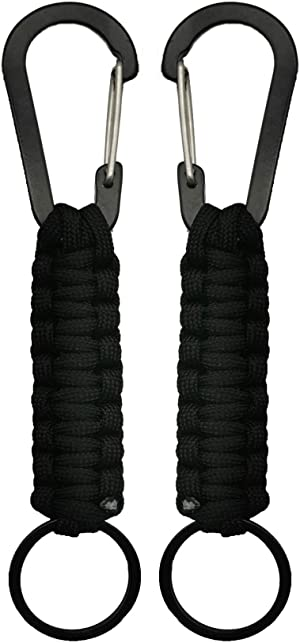 Professional Paracord Keychain with Carabiner Military Braided Lanyard Ring Hook