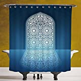 SCOCICI Fun Shower Curtain 3.0 by [Arabian,Doors of Antique Mosque Grace Faith Theme Islamic Ethnic Illustration Print,White Turquoise ] Digital Print Polyester Fabric Bathroom Set