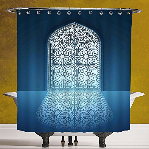 SCOCICI Fun Shower Curtain 3.0 by [Arabian,Doors of Antique Mosque Grace Faith Theme Islamic Ethnic Illustration Print,White Turquoise ] Digital Print Polyester Fabric Bathroom Set by SCOCICI