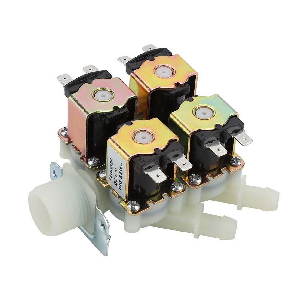 Electric Solenoid Valve DC 12V DN20 G3//4 1 in 4 Out Plastic Electromagnetic Valve Normally Closed Water Drain Valve