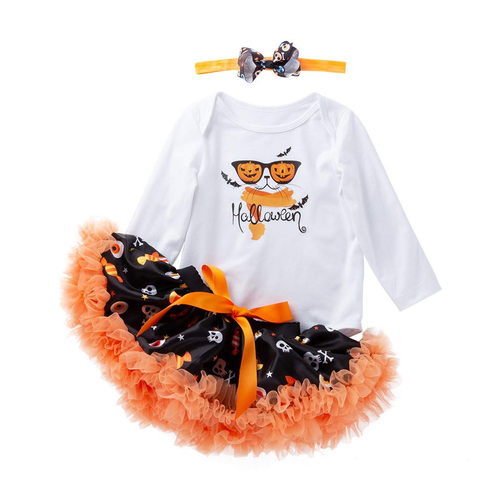 for Your Princess 1st Halloween Outfits,Jchen(TM) Newborn Infant Baby Girls Halloween Romper Tutu Skirt Headbands Halloween Outfits 0-18 Months (Age: 6-12 Months, D)