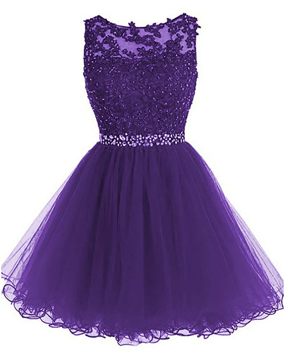 Purple IVYPRECIOUS Women's Beaded Lace Short Homecoming Dress A Line Tulle Party Dress