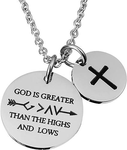 Women Necklace Pendant Bible Verse Prayer Coin Cubic Zirconia Stone Jewelry Gift