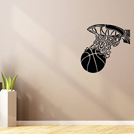 085a07cc4c8e Buy CVANU Basketball Hoop Sport Wall Decal Vinyl Sticker Ball Game Gym Wall  Decor Home Interior Design Online at Low Prices in India - Amazon.in