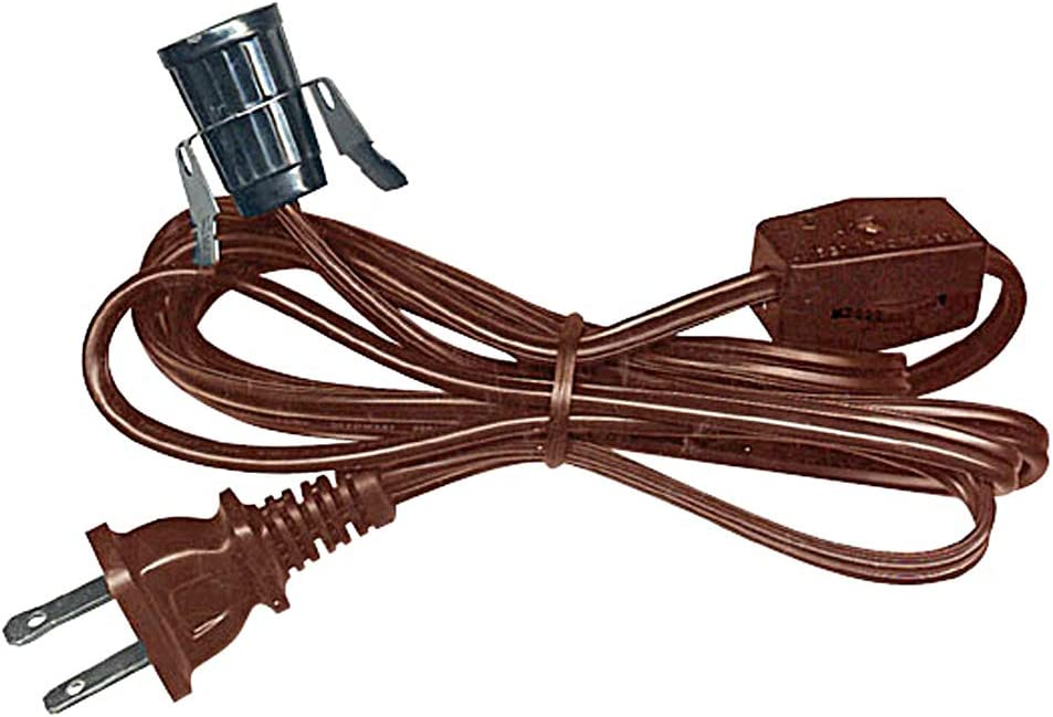 6 Foot Black Lamp Cord Set w//Inline Rotary Switch /& Plug Lot of 10