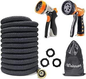 50ft Expandable Garden Hose Bundle with High Pressure Foam Cannon 25oz for Car (2 Items)
