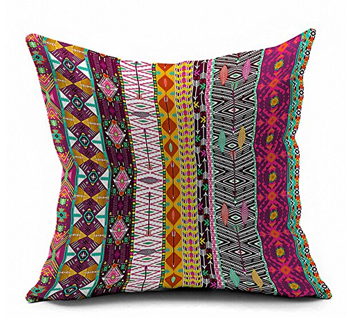 Bohemian Colorful Stripes Geometric Flower Ethnic Boho Style Vivid Colors Cotton Linen Throw Pillow Case Cushion Cover Home Office Decorative Square 18 X 18 Inches