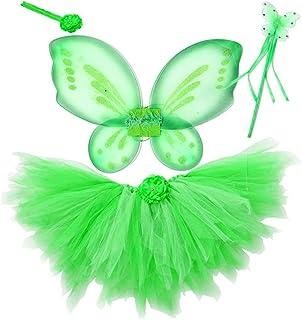 BESTOYARD Costume Farfalla Bambina con Tutu Gonna Ali da Fata Farfalla e Bacchetta Magica Cerchietto 4 Pezzi - Taglia S (Verde Chiaro)