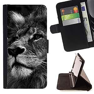 BullDog Case - FOR/LG OPTIMUS L90 / - / lion black white picture nature big cat /- Monedero de cuero de la PU Llevar cubierta de la caja con el ID Credit Card Slots Flip funda de cuer