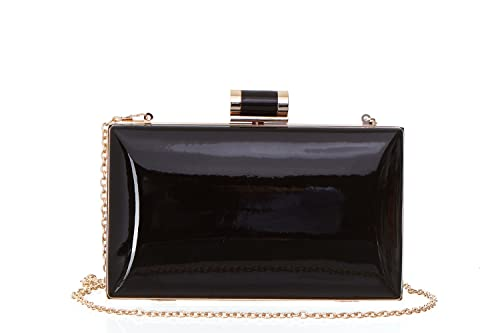 e5768dc9f2e Faux Patent Leather Candy Clutch Women s Shiny Solid Patent Rectangular Box  Clutch with Top Clasp -