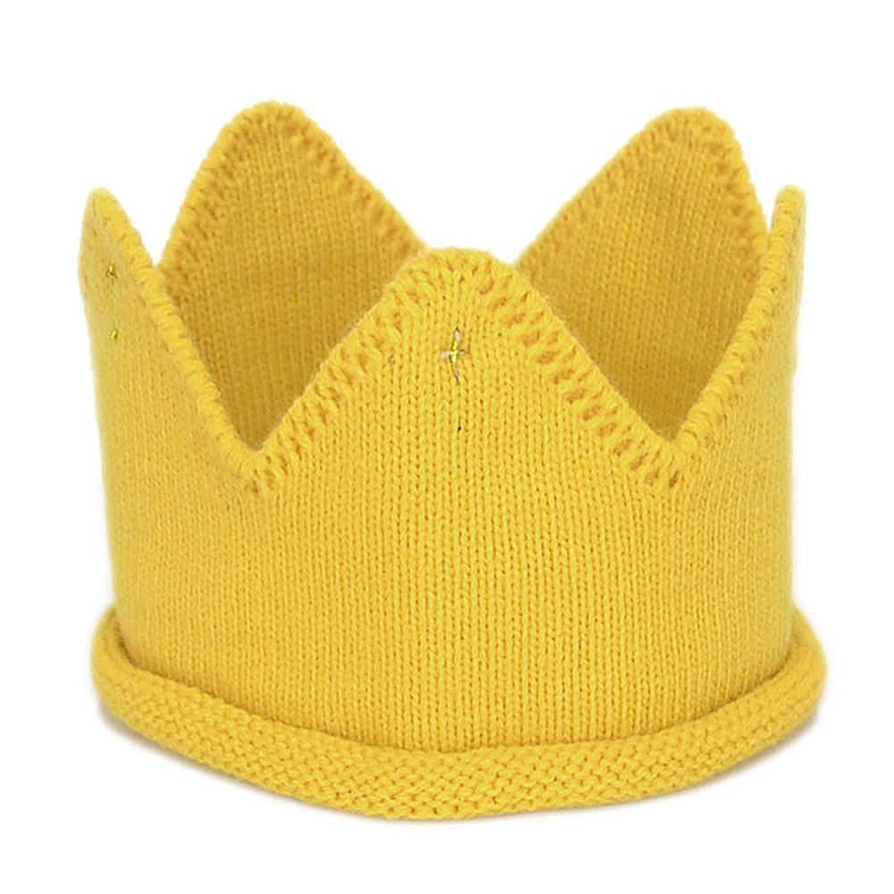 ベビー幼児用誕生日クラウンパーティー帽子暖かいソフトニットかぎ針編みキュートビーニーキャップ S イエロー NE-HYL142Yellow  イエロー B0773N2P98
